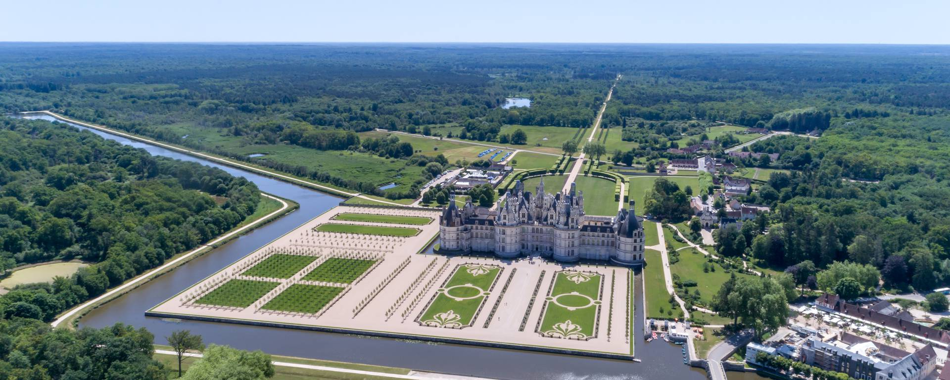 The gardens of Chambord from the air