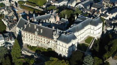 The Royal Castle of Blois seen from the sky. © Aerocom
