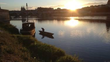 Le soleil se couche sur la Loire à Blois. © OTBC