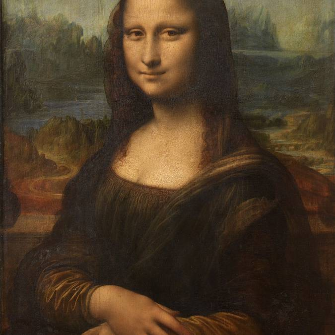 The famous Mona Lisa by Leonardo da Vinci.