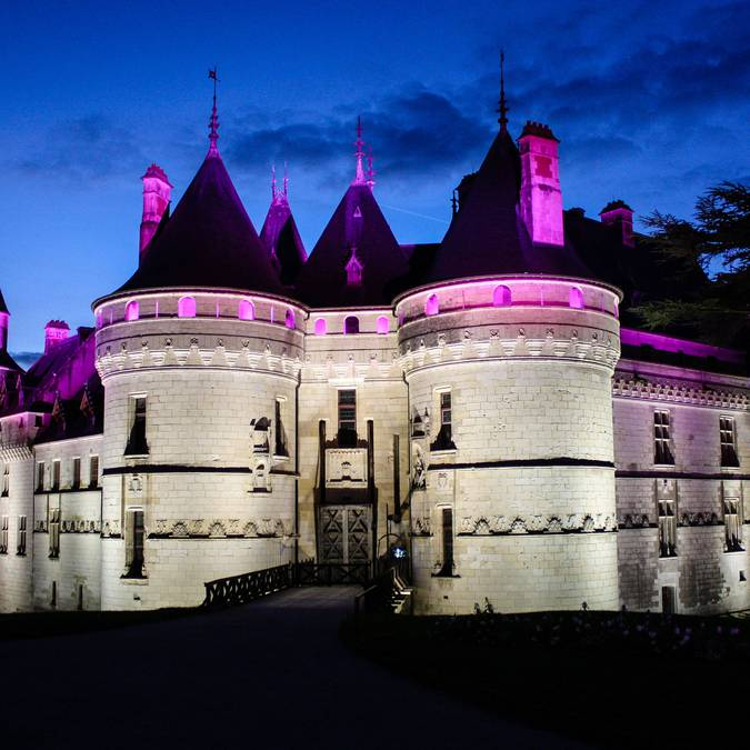 The castle of Chaumont at night