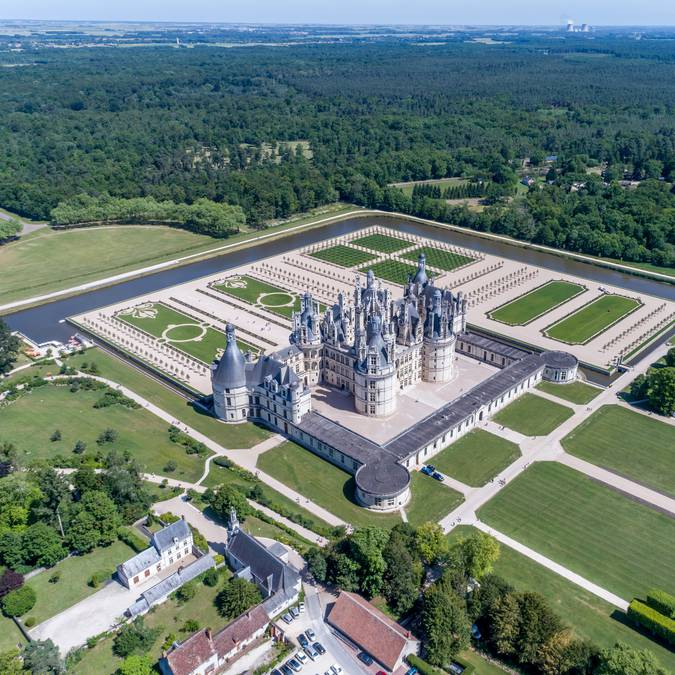 The Château de Chambord and its gardens seen from the sky