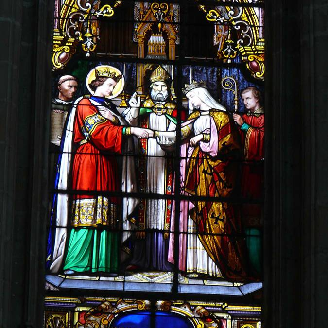 Stained glass in the cathedral of Blois
